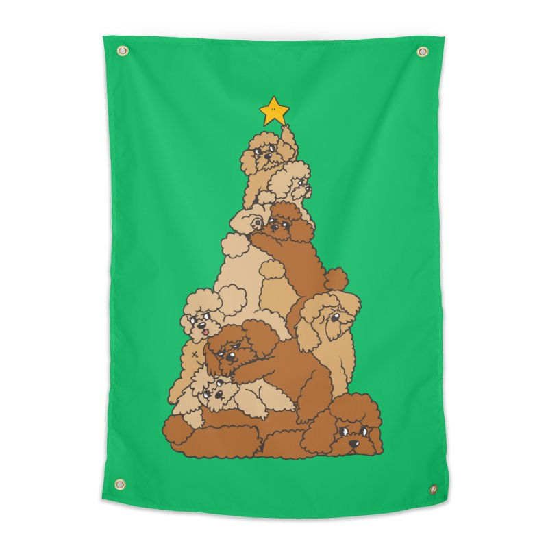 Christmas Tree Poodle Home Tapestry by huebucket's Artist Shop