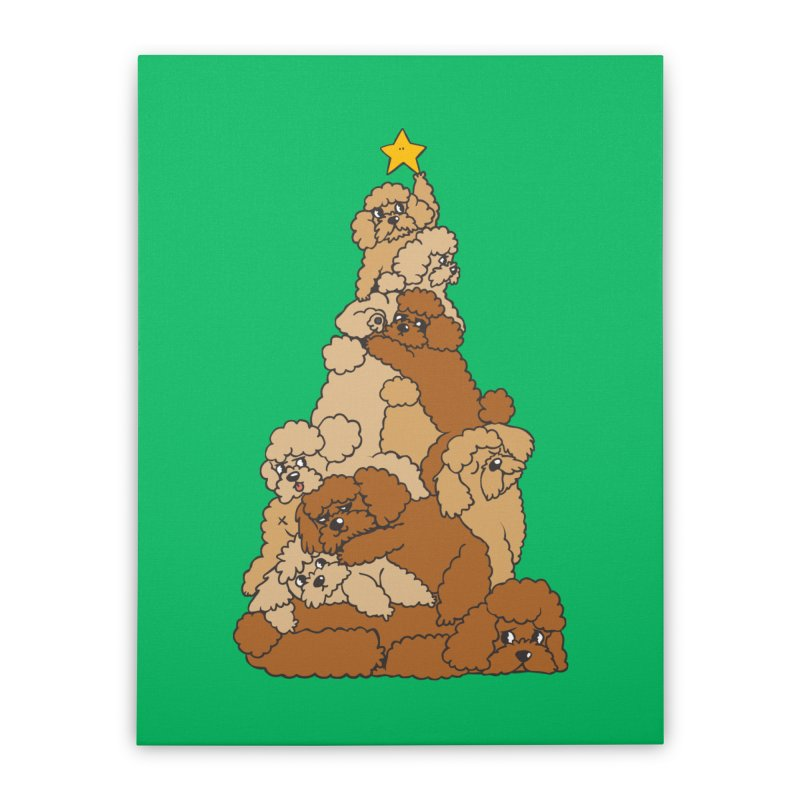 Christmas Tree Poodle Home Stretched Canvas by huebucket's Artist Shop