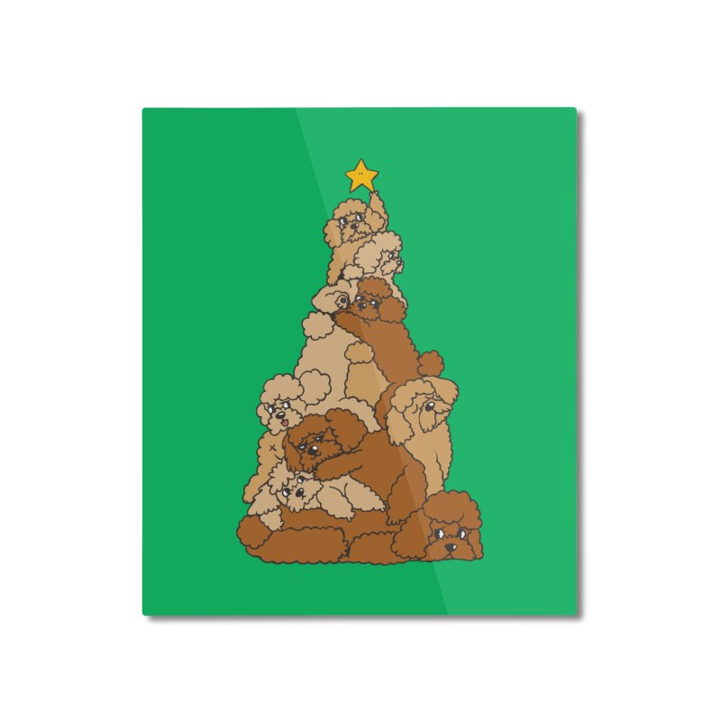 Christmas Tree Poodle Home Mounted Aluminum Print by huebucket's Artist Shop