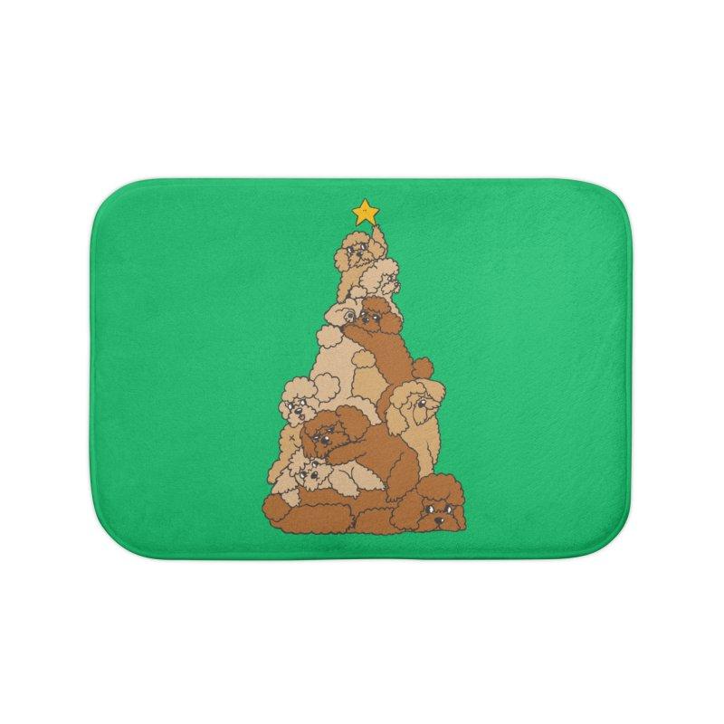Christmas Tree Poodle Home Bath Mat by huebucket's Artist Shop