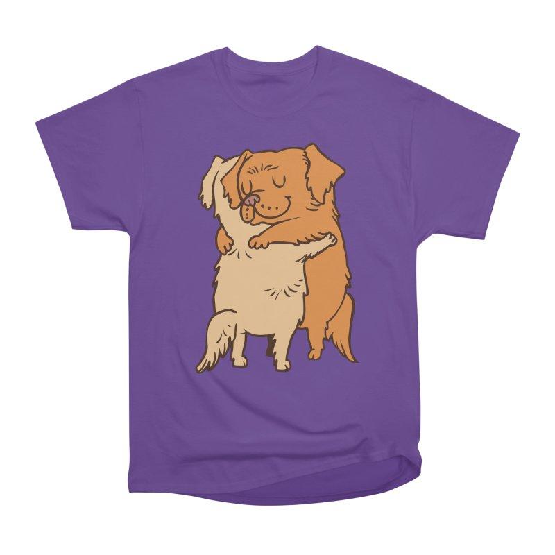 Golden Retriever hugs Women's Heavyweight Unisex T-Shirt by huebucket's Artist Shop