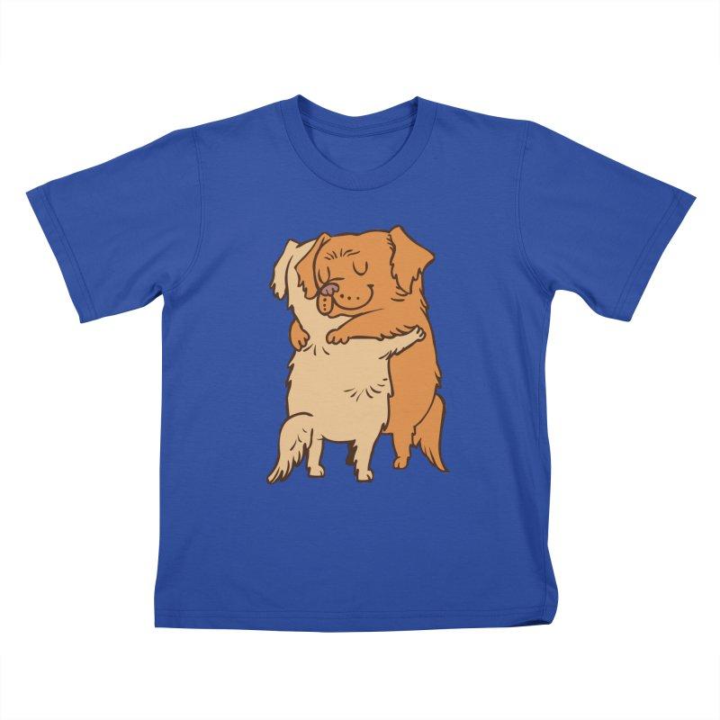 Golden Retriever hugs Kids T-Shirt by huebucket's Artist Shop