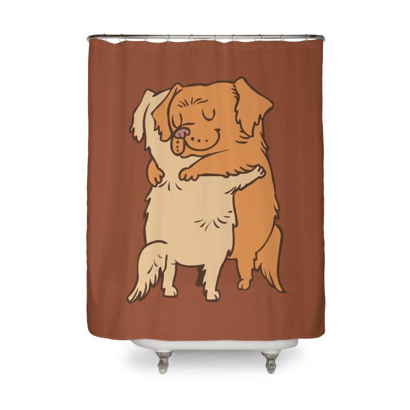Golden Retriever hugs Home Shower Curtain by huebucket's Artist Shop