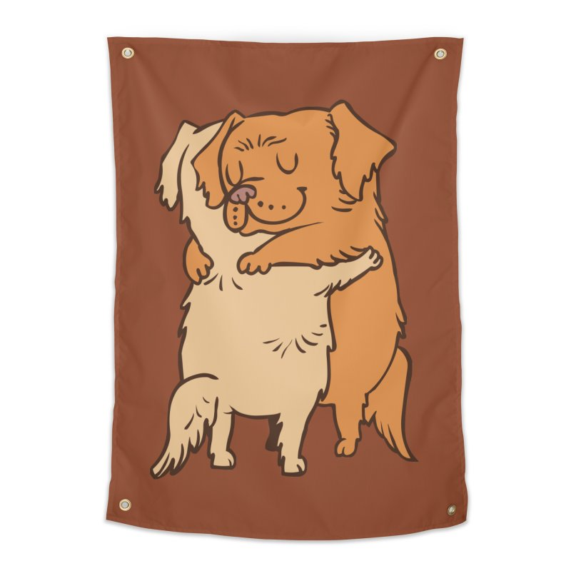 Golden Retriever hugs Home Tapestry by huebucket's Artist Shop