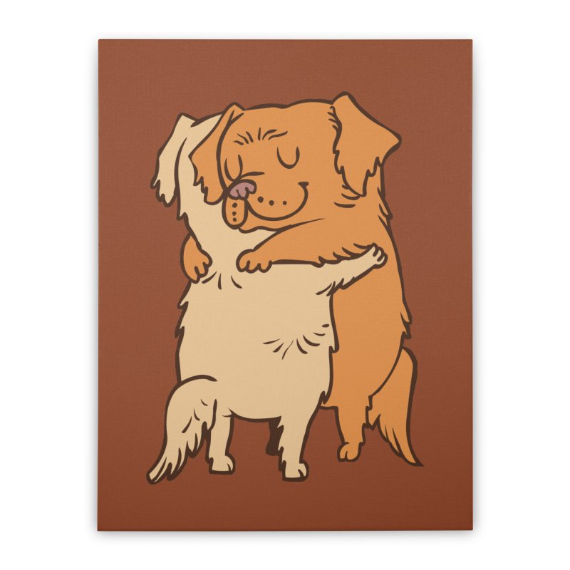 Golden Retriever hugs Home Stretched Canvas by huebucket's Artist Shop