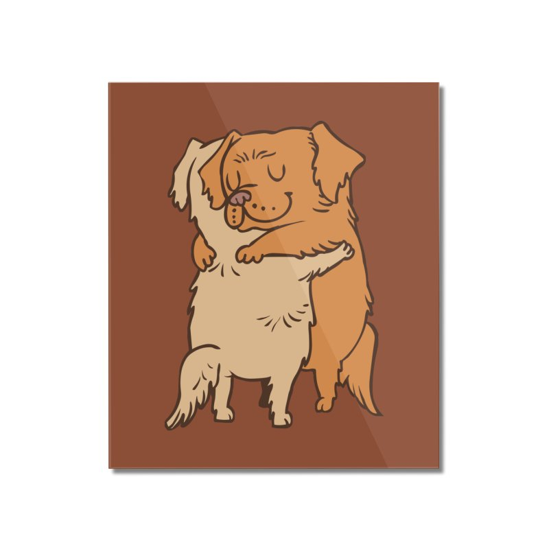 Golden Retriever hugs Home Mounted Acrylic Print by huebucket's Artist Shop
