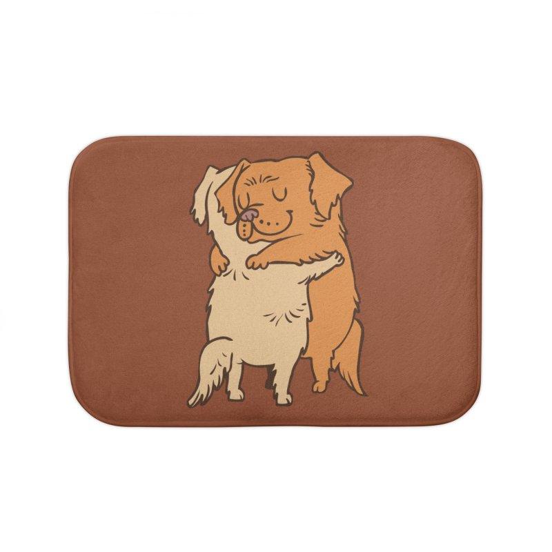 Golden Retriever hugs Home Bath Mat by huebucket's Artist Shop
