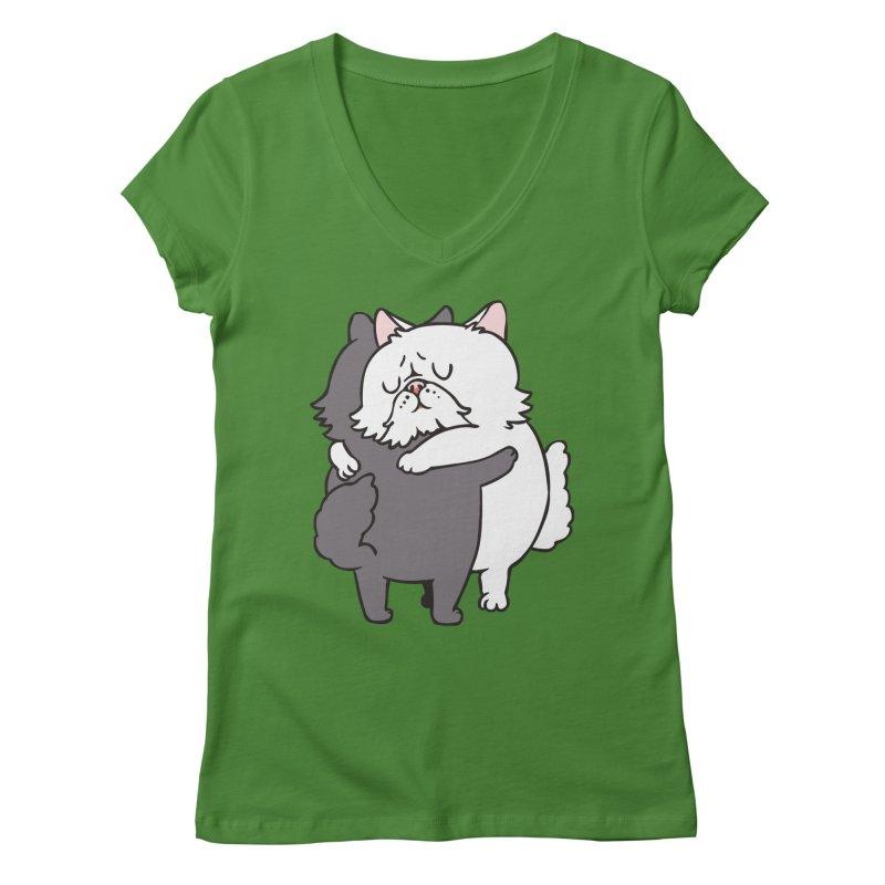 Persian Cat hugs Women's Regular V-Neck by huebucket's Artist Shop