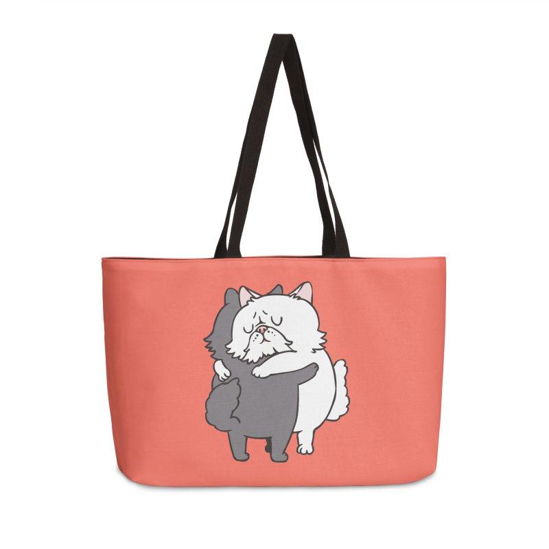 Persian Cat hugs Accessories Weekender Bag Bag by huebucket's Artist Shop