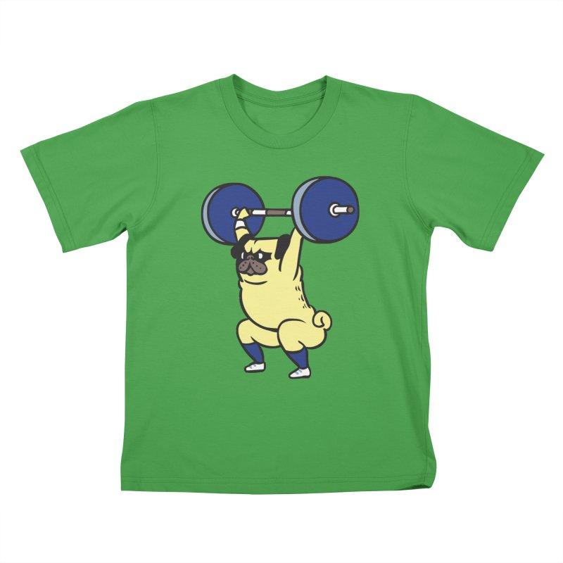 The snatch weightlifting Pug Kids T-Shirt by huebucket's Artist Shop