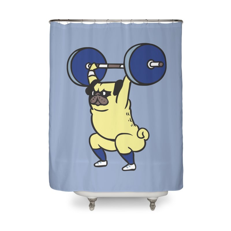 The snatch weightlifting Pug Home Shower Curtain by huebucket's Artist Shop