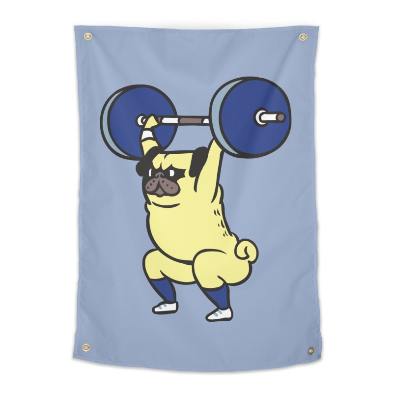 The snatch weightlifting Pug Home Tapestry by huebucket's Artist Shop