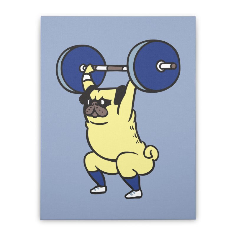 The snatch weightlifting Pug Home Stretched Canvas by huebucket's Artist Shop