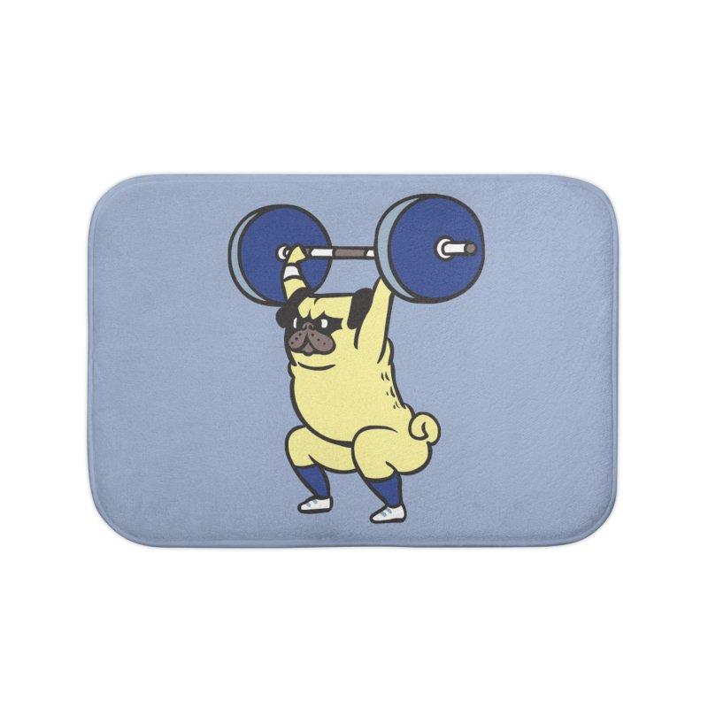 The snatch weightlifting Pug Home Bath Mat by huebucket's Artist Shop