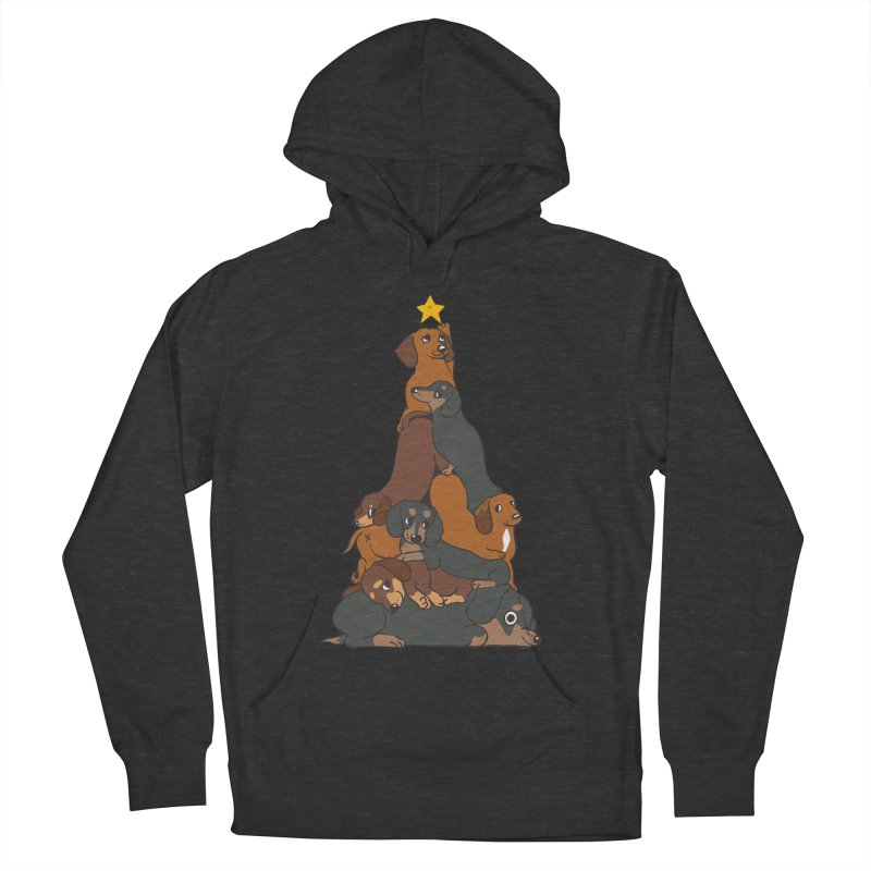Christmas Tree Dachshund Men's French Terry Pullover Hoody by huebucket's Artist Shop