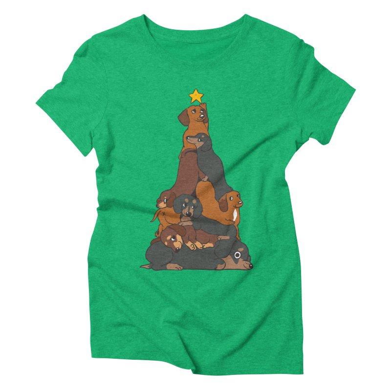 Christmas Tree Dachshund Women's Triblend T-Shirt by huebucket's Artist Shop