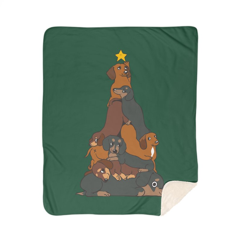 Christmas Tree Dachshund Home Sherpa Blanket Blanket by huebucket's Artist Shop
