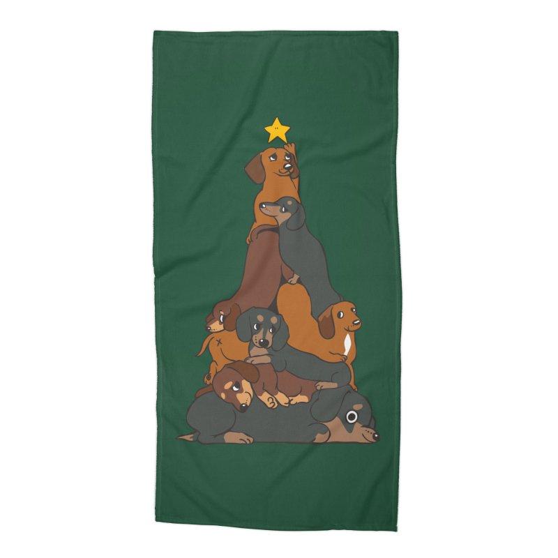Christmas Tree Dachshund Accessories Beach Towel by huebucket's Artist Shop