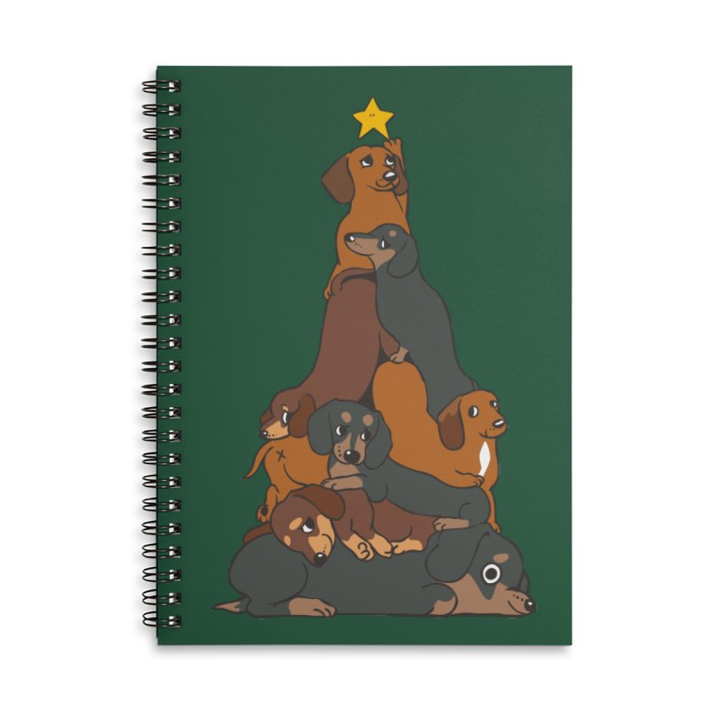 Christmas Tree Dachshund Accessories Lined Spiral Notebook by huebucket's Artist Shop