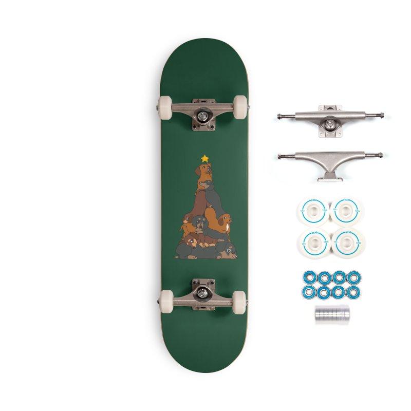 Christmas Tree Dachshund Accessories Skateboard by huebucket's Artist Shop