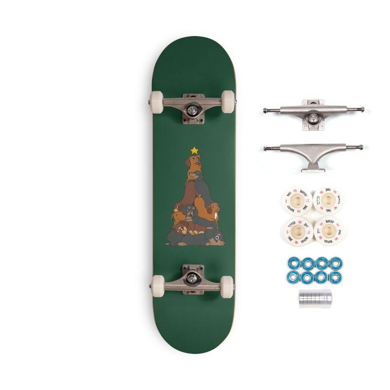 Christmas Tree Dachshund Accessories Complete - Premium Skateboard by huebucket's Artist Shop