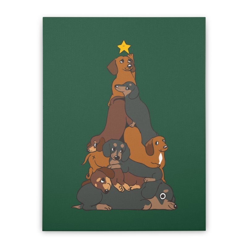 Christmas Tree Dachshund Home Stretched Canvas by huebucket's Artist Shop