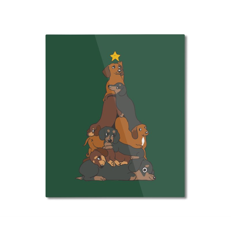 Christmas Tree Dachshund Home Mounted Aluminum Print by huebucket's Artist Shop