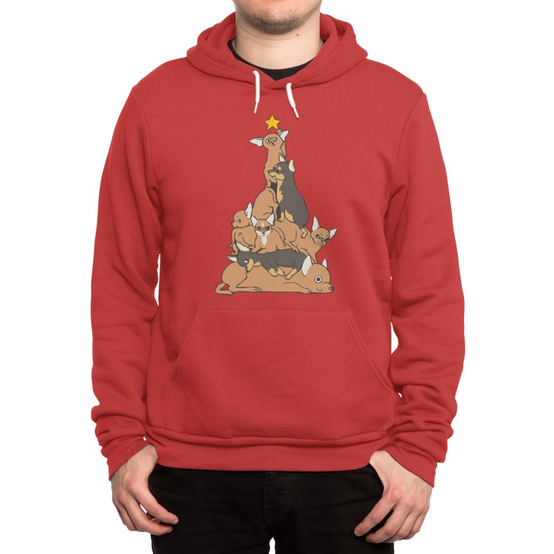 Christmas Tree Chihuahua Men's Pullover Hoody by huebucket's Artist Shop