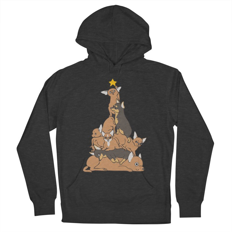 Christmas Tree Chihuahua Men's French Terry Pullover Hoody by huebucket's Artist Shop