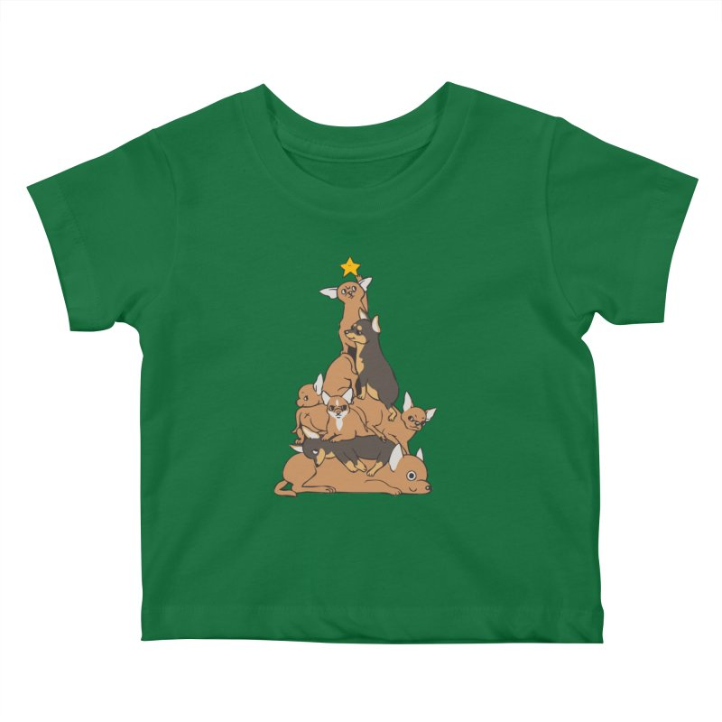 Christmas Tree Chihuahua Kids Baby T-Shirt by huebucket's Artist Shop