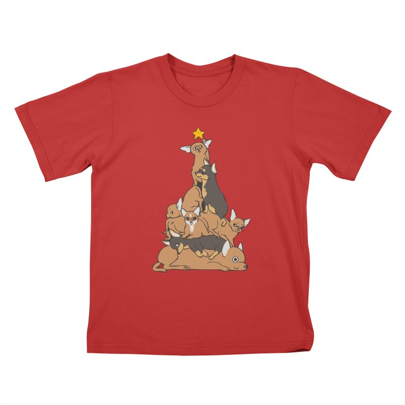 Christmas Tree Chihuahua Kids T-Shirt by huebucket's Artist Shop