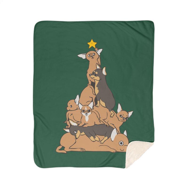 Christmas Tree Chihuahua Home Sherpa Blanket Blanket by huebucket's Artist Shop