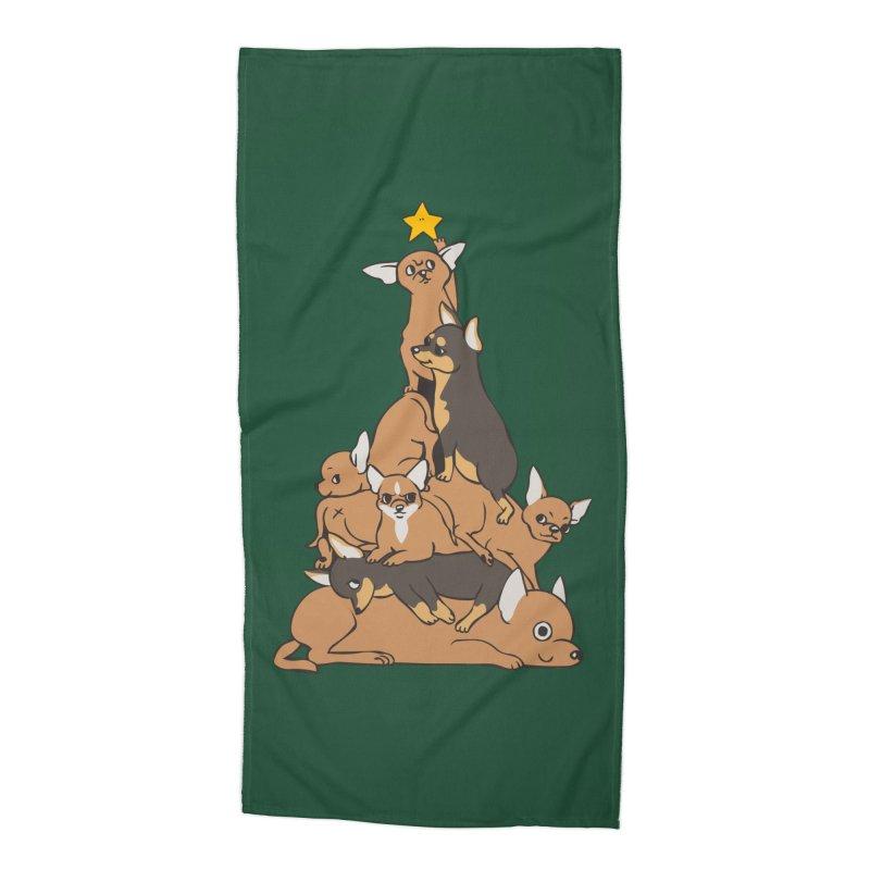 Christmas Tree Chihuahua Accessories Beach Towel by huebucket's Artist Shop