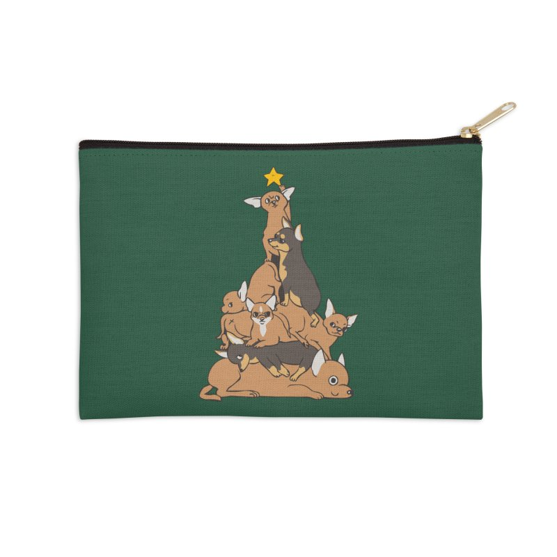 Christmas Tree Chihuahua Accessories Zip Pouch by huebucket's Artist Shop