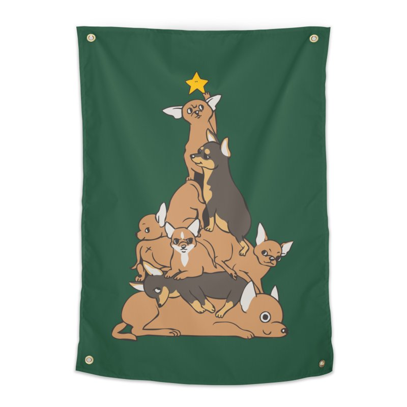 Christmas Tree Chihuahua Home Tapestry by huebucket's Artist Shop
