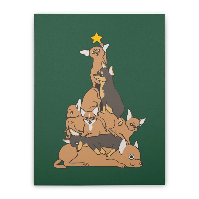 Christmas Tree Chihuahua Home Stretched Canvas by huebucket's Artist Shop