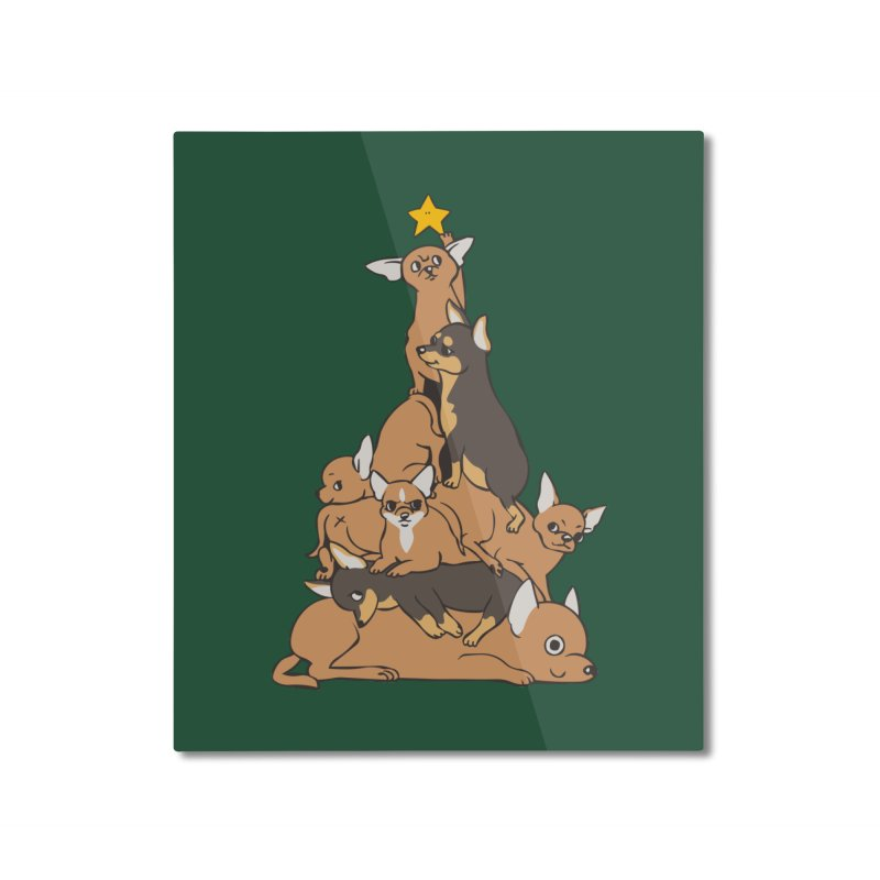 Christmas Tree Chihuahua Home Mounted Aluminum Print by huebucket's Artist Shop