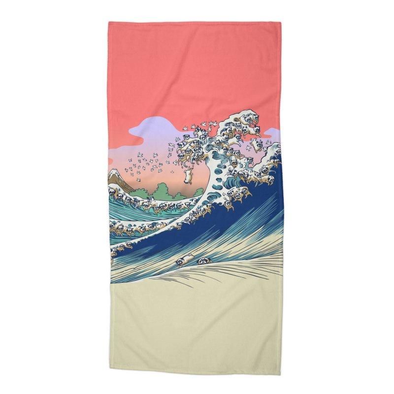Fuji at Sea of Pugs Accessories Beach Towel by huebucket's Artist Shop
