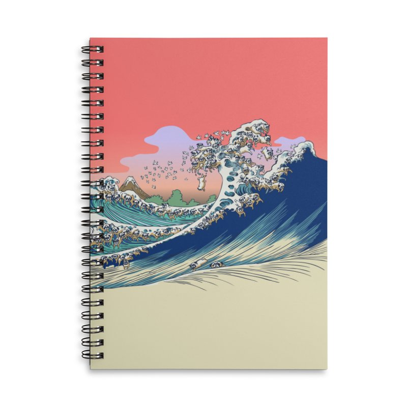 Fuji at Sea of Pugs Accessories Lined Spiral Notebook by huebucket's Artist Shop