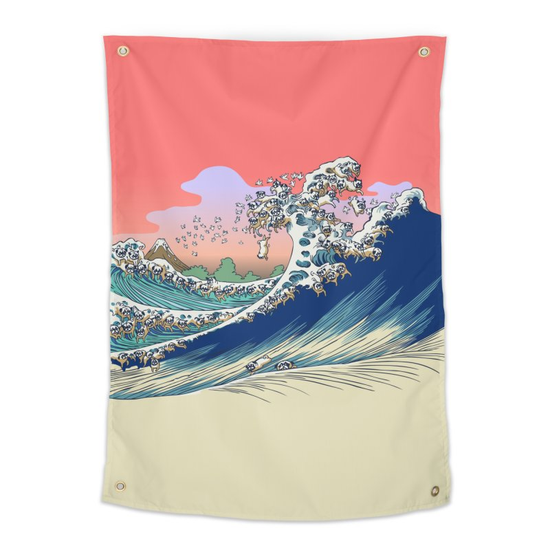 Fuji at Sea of Pugs Home Tapestry by huebucket's Artist Shop