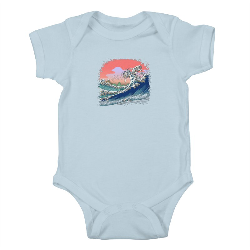 Fuji at Sea of Pugs Kids Baby Bodysuit by huebucket's Artist Shop