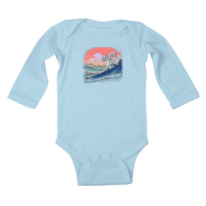 Fuji at Sea of Pugs Kids Baby Longsleeve Bodysuit by huebucket's Artist Shop