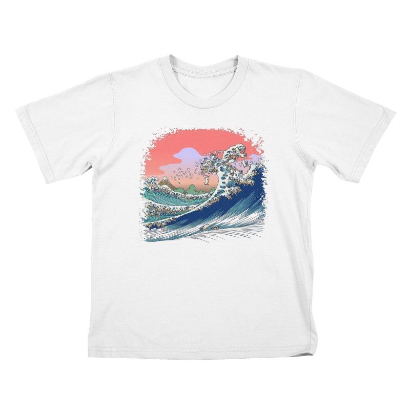 Fuji at Sea of Pugs Kids T-Shirt by huebucket's Artist Shop