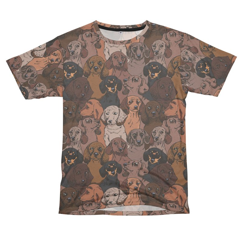 Social Dachshunds Women's Unisex French Terry T-Shirt Cut & Sew by huebucket's Artist Shop