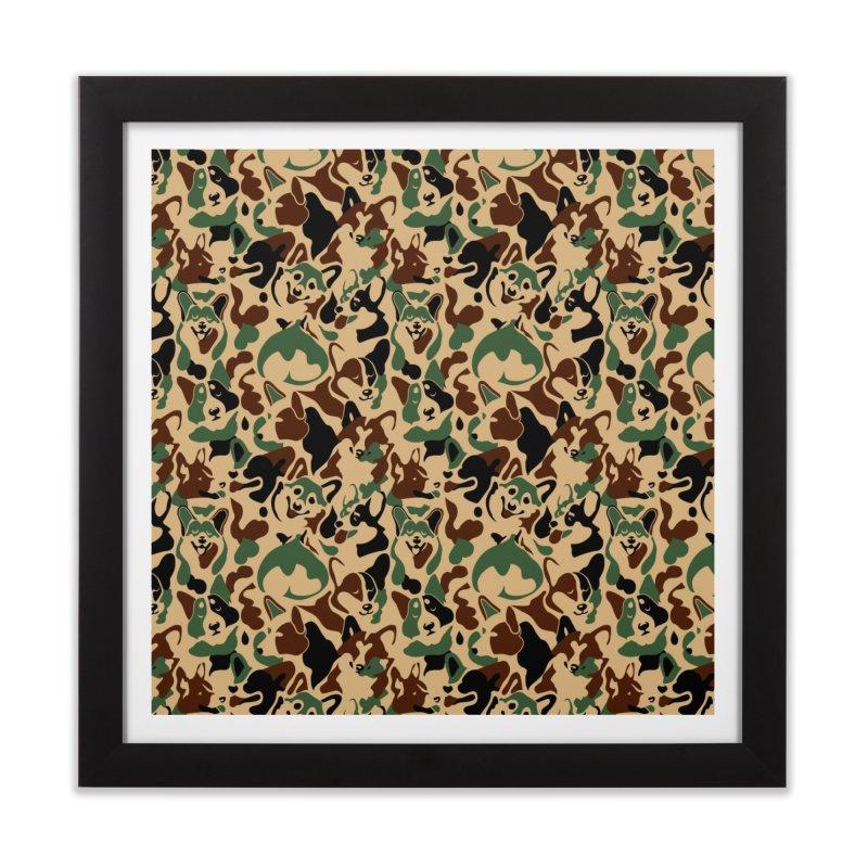 Corgi Camouflage Home Framed Fine Art Print by huebucket's Artist Shop