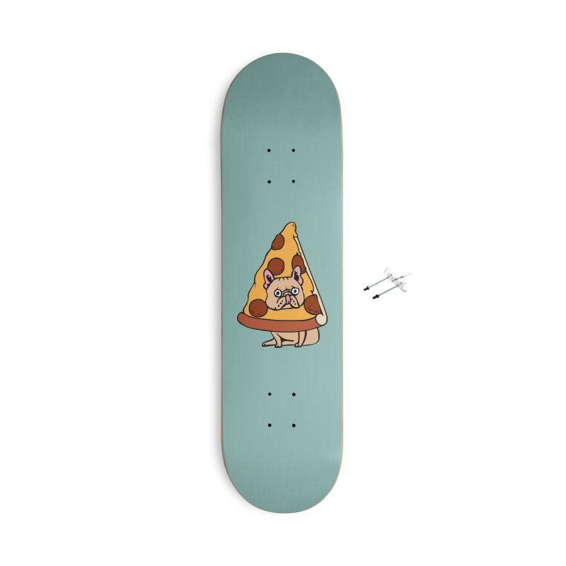 Pizza Frenchie Accessories With Hanging Hardware Skateboard by huebucket's Artist Shop