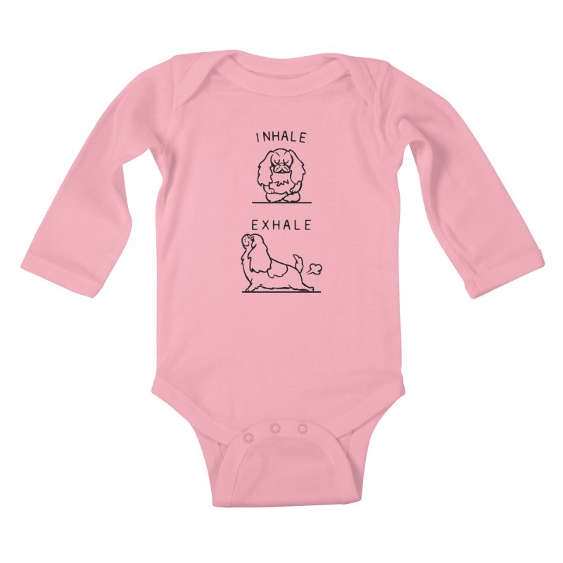 Inhale Exhale Cavalier King Charles Spaniel Kids Baby Longsleeve Bodysuit by huebucket's Artist Shop