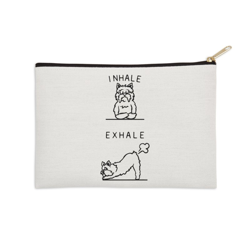Inhale Exhale Yorkshire Terrier Accessories Zip Pouch by huebucket's Artist Shop