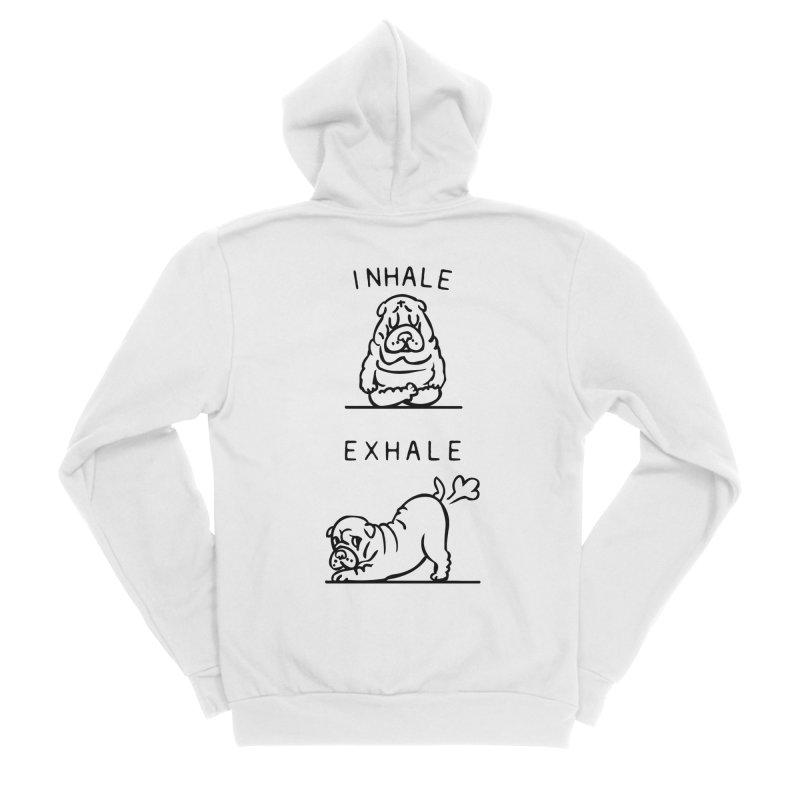 Inhale Exhale Shar Pei Women's Sponge Fleece Zip-Up Hoody by huebucket's Artist Shop