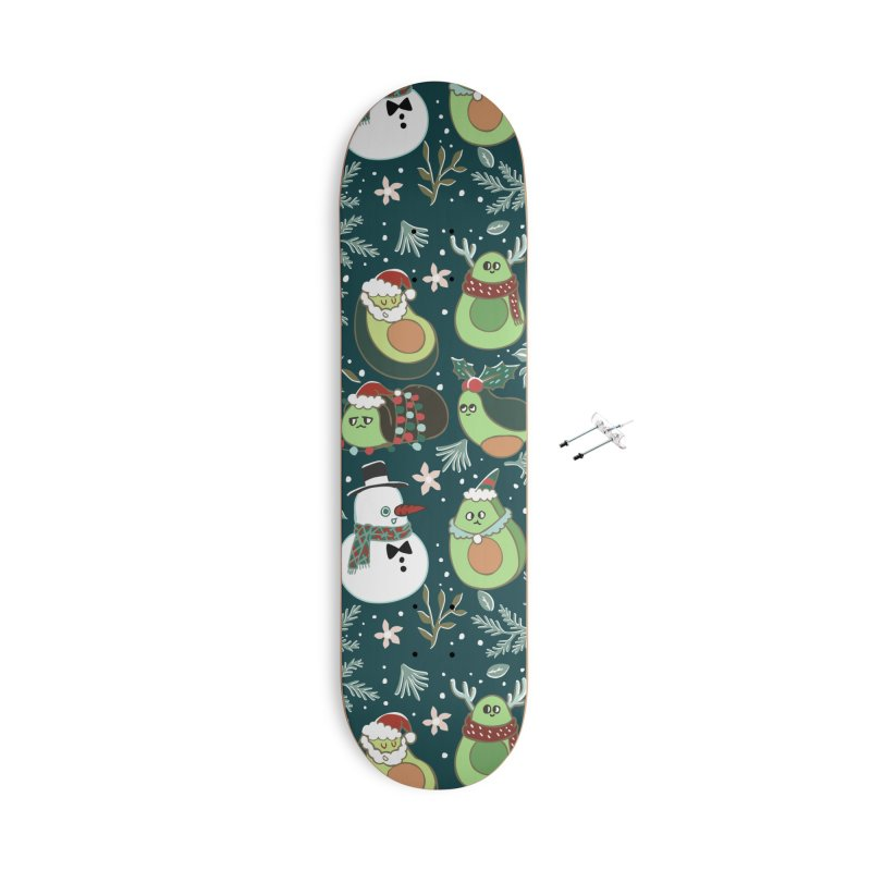 Christmas Avocado Accessories With Hanging Hardware Skateboard by huebucket's Artist Shop